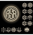 set letters for decoration stylish retro vector image vector image