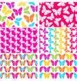 Set of six seamless butterflies backgrounds vector image