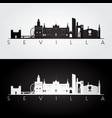 sevilla skyline and landmarks silhouette black vector image vector image