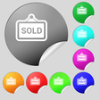 Sold icon sign Set of eight multi colored round vector image