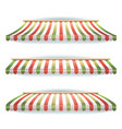 striped italian awnings set for italian pizzeria vector image