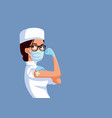 strong healthcare worker showing vaccinated arm vector image vector image