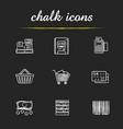 supermarket chalk icons set vector image vector image