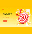 target chart landing page banner business 3d icon vector image