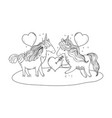 unicorns couple in the landscape characters vector image vector image