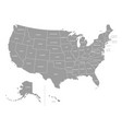 united states america grey map vector image vector image