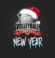 volleyball ball with santa hat and happy new year vector image