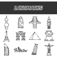 world landmarks icons set vector image vector image