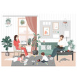young family couple and kids stay home and have vector image