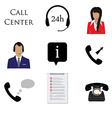 Call centre icon set vector image