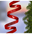 Christmas card with with fir branches and red vector image