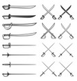 set of the swords isolated on white background vector image