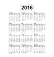 2016 Calendar Black text on a white background vector image vector image