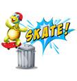a turtle playing skatebiard vector image