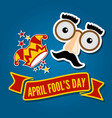 april fools day card jester hat and funny glasses vector image