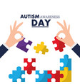 autism awareness day card solidarity event vector image vector image