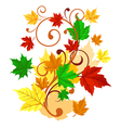 Autumnal background with colorful leaves vector image