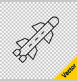 black line rocket icon isolated on transparent vector image vector image