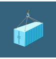 Blue Container with Crane vector image