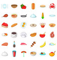 cafe icons set cartoon style vector image vector image
