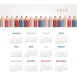 Calendar 2015 year with colored pencils vector image