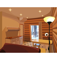 Cartoon interior in a wooden house vector image