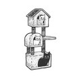 cat house sketch vector image vector image