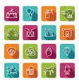 circus icons set in linear style vector image vector image