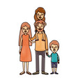 color crayon stripe cartoon family parents with vector image vector image
