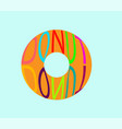 donut on a blue turquoise background with an vector image vector image