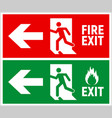 emergency fire exit sign evacuation fire escape vector image vector image