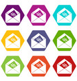 envelope with percentage icon set color hexahedron vector image vector image