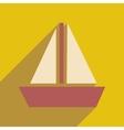 Flat web icon with long shadow sailing ship vector image vector image