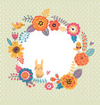 floral background wreath frame with cute birds an vector image vector image
