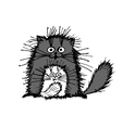 Fluffy cats family sketch for your design vector image
