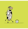 Funny cow with bucket of milk sketch vector image vector image