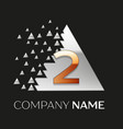 golden number two logo in silver pixel triangle vector image vector image