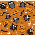 halloween birds and pumpkins vector image vector image