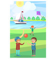 kids play with ball in public park poster vector image vector image