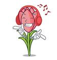 listening music crocus flower mascot cartoon vector image vector image