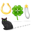 Luck symbols and black cat vector image