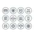 network hosting and servers line icons set vector image vector image