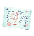 note with text and hearts I love you valentines vector image