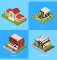 public building poster card set isometric view vector image vector image