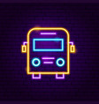 school bus neon label vector image vector image