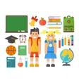 School symbols and kids set vector image