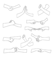 Set of different handshake silhouette vector image