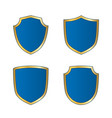 shield gold blue icons set shape emblem vector image