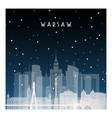 winter night in warsaw night city in flat style vector image