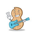 with guitar peanut character cartoon style vector image vector image